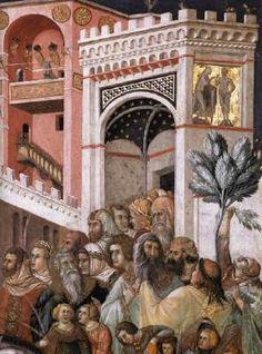 Pietro Lorenzetti - Entrata di Cristo in Gerusalemme (Storie della Passione di Cristo), dettaglio - 1326-1329 - affresco - Assisi, Basilica inferiore di San Francesco