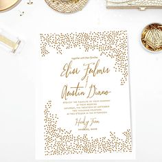 Gold Confetti Wedding Invitation New Years Eve Party Wedding Blush Printables - Pittsburgh Wedding Invitations - The Wedding Collection