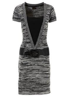 Gebreide jurk met diepe V-hals in 2-in-1-look van RAINBOW.