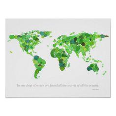 Seaglass World Map Poster