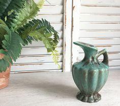 Gonder Pottery Pitcher Vase with Green Onyx Glaze, Ceramic Vase Small Bud Vase, Vintage Pottery Bud Vase, Onyx Glaze Pottery, Pottery Ewer