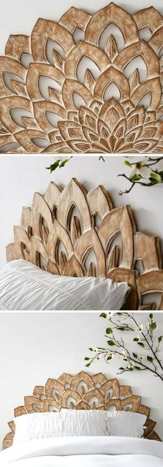 This headboard is light and easy to attach to the wall for some quick texture | Headboard | Wood-carved | Bedroom Decor | Ad #homedecor