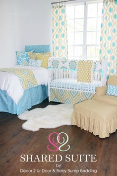 Yellow + Aqua Shared Sibling Room Bedding - love the coordinating design for the crib and bed! Great for tight spaces. #PNpartner