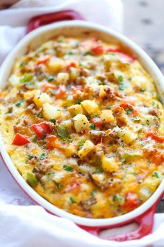 Eat Healthy Cheesy Breakfast Casserole - The best and easiest make-ahead breakfast casserole loaded with sausage, potatoes and cheesy goodness! - The best and easiest make-ahead breakfast casserole loaded with sausage, potatoes and cheesy goodness! Breakfast Desayunos, Breakfast Dishes, Sausage Breakfast, Best Breakfast Casserole, Breakfast Cassarole, Breakfast With Potatoes, Make Ahead Breakfast Casseroles, Breakfast Ideas, Breakfast Tailgate Food