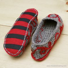 Add fancy felt soles with no-slip grips to your favorite crocheted slippers!