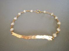 Hammered Gold Bar and Pearl Bracelet  Simple by LisaDJewelry, $29.00