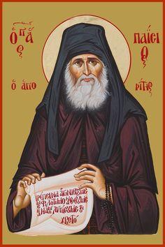 Paisios Father Byzantine Icons, Byzantine Art, Orthodox Christianity, Orthodox Icons, Christian Art, Santorini, Saints, Gatos, Fresco
