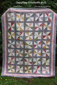 Opposing Pinwheels Quilt uses Mon Ami by Basic Grey fabric. Free instructions on the Moda Bake Shop blog.