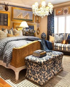 "So-called ""Coastal Chinoiserie"": Traditional bed, but with woven sisal head and foot boards, nautical paintings, blue and white ginger jars and fabrics. (Coined by Beth Connolly of Chinoiserie Chic)"