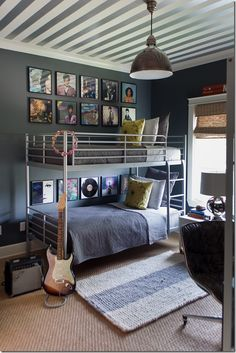 Suzie: Sally Wheat Interiors - Fun boy's bedroom with white & silver metallic striped ceiling, . Love the striped ceiling! Striped Ceiling, Striped Rug, Dorm Room Necessities, Room Essentials, Dorm Room Walls, Deco Kids, Man Room, Awesome Bedrooms, Awesome Beds
