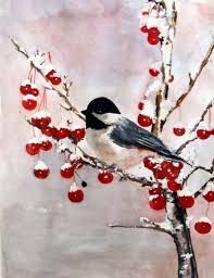 Image result for christmas chickadee drawings