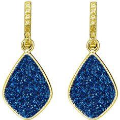 H. Azeem - Elara's Blue Star Earrings (410 ILS) ❤ liked on Polyvore featuring jewelry, earrings, blue star jewelry, blue druzy earrings, drusy earrings, blue jewelry and earring jewelry