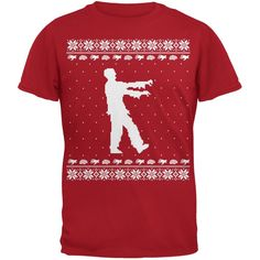 Big Zombie Ugly Christmas Sweater Red Adult T-Shirt