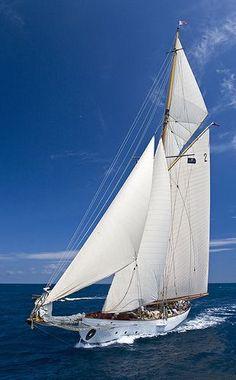 A classic sailing yacht in blue water under a blue sky Classic Sailing, Classic Yachts, Yacht Boat, Sailboat Yacht, Parc National, Sail Away, Set Sail, Am Meer, Paris Photos