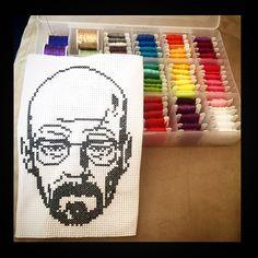 Walter White Breaking Bad cross-stitch