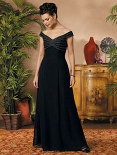 (FITS0251227 )A-line Off-the-shoulder  Beading  Sleeveless Floor-length Chiffon Black Mother of the Bride Dresses