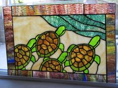 Kitchen window? To replace the Iris stained glass S the Spineless Jellyfish failed to repair or return. Stained Glass Sea Turtles by *tursiart on deviantART