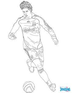 Coloriage du joueur de foot Fernando Torres. À imprimer gratuitement ou colorier en ligne sur hellokids.com. Un coloriage parfait pour tous les fans de foot.