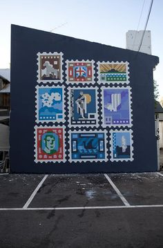 The mural at the Iceland Design Centre in Reykjavik, inspired by Icelandic stamps. By Siggi Eggertsson.