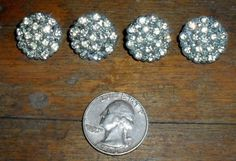 Lot of 4 vintage metal buttons with rhinestones