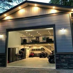 Garage Ideas For a MAN CAVE! Declutter and organize your garage then turn it into a man cave. Garage storage and organization ideas to take your garage from cluttered mess to organized success. LOTS of garage makeover pictures before and after! Plan Garage, Home Garage, Garage Shop Plans, Garage Workshop Plans, Pole Barn Garage, Detached Garage Plans, Pole Barn Shop, Garage Art, Detached Garage Designs