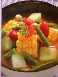 sayur asam - delicious vegetable dish with some rice.