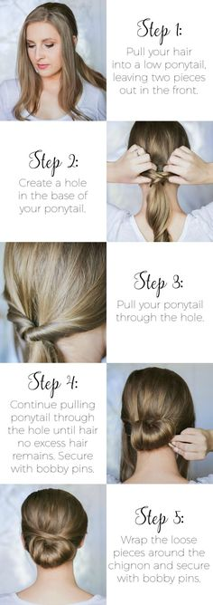 Easy Second-Day Hairstyles This easy wrapped chignon hair tutorial is perfect for second-day hair. You'll be shocked at how easy it is to re-create, and it's the perfect hairstyle idea for work, weddings, or date night! Second Day Hairstyles, Work Hairstyles, Trendy Hairstyles, Wedding Hairstyles, Date Night Hairstyles, Interview Hairstyles, Pelo Formal, 2nd Day Hair, Up Girl