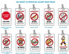Allergy and Autism Alert Bag Tags