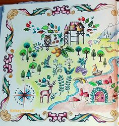 Enchanted Forest coloring book by Johanna Basford. Colored by Kelsey Everett.