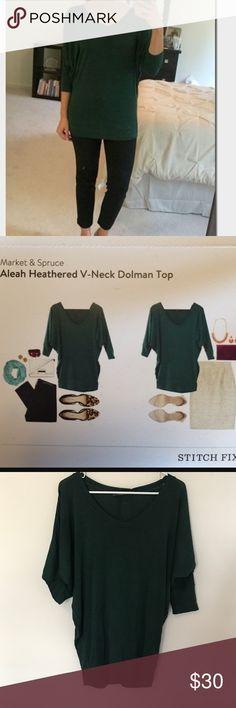 Stitch Fix dolman sleeve top Green Market and Spruce Stitch Fix Brand Aleah heathered v neck dolman sleeve top stitch fix Tops Blouses