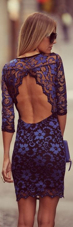 Blue Lace Dress... it'd need to be tight so that my boobs wouldn't bounce everywhere, but if I could pull this off that'd be awesome!