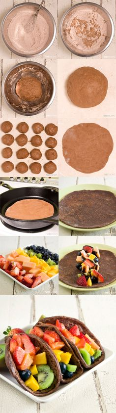 Chocolate tacos with fruits Sweet Desserts, Sweet Recipes, Healthy Treats, Yummy Treats, Delicious Fruit, Yummy Food, Mexican Food Recipes, Dessert Recipes, Tapas
