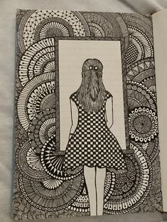 Girly Drawings, Cool Art Drawings, Pencil Art Drawings, Art Drawings Sketches, Doodle Art Drawing, Zentangle Drawings, Mandala Drawing, Zentangles, Mandala Art Lesson