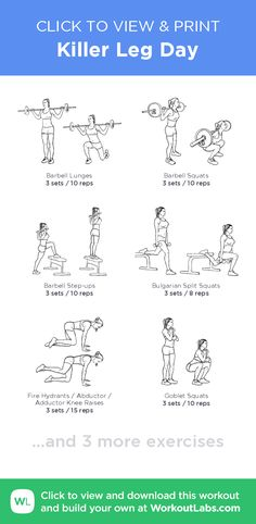 Killer Leg Day – click to view and print this illustrated exercise plan created with #WorkoutLabsFit