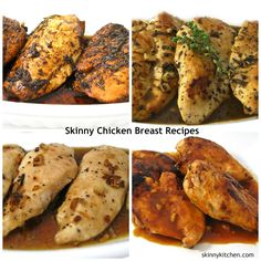 6 Easy, Skinny Chicken Breast Recipes. I'm sharing 6 fantastic recipes. All taste delightfully different. One for almost every night of the week. And, they all freeze great. http://www.skinnykitchen.com/recipes/6-easy-and-skinny-chicken-breast-recipes/