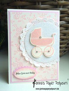 jpp - Rosa Babykarte / Karte zur Geburt / Baby Card / Stampin' Up! Berlin / Something for Baby / Kleine Wünsche / I love lace / Framelits Alles fürs Baby www.janinaspaperpotpourri.de