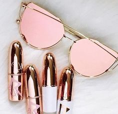 Rose gold sunglasses | rose gold lipstick