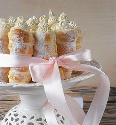 Cake Stand - Cannolis or Cream filled Puff Pastries - fun