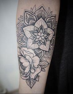 Mandala floral in black dotwork by Alex Tabuns, St. Petersburg, Russia #ink #tattoo