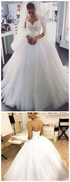 Spaghetti Straps Ball Gown Wedding Dress M3989