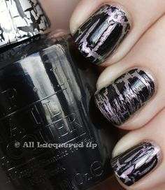 """OPI Katy Perry collection - """"Not Like the Movies"""" colour + OPI Black Shatter overlay. Yea, I wear this to work!"""