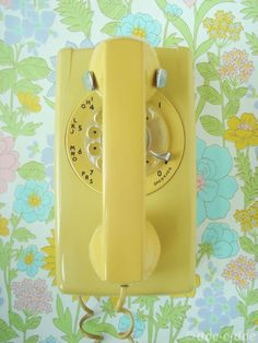 #yellow #retro #vintage #phone #floral