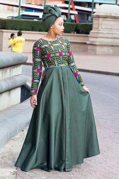 Army green african print dress ankara dress by EssieAfricanPrint