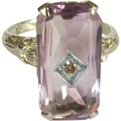 Amethyst 18K Gold Ring, Filigree Deco Diamond