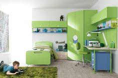 grünes Kinderzimmer einrichten: Bett, Eck-Kleiderschrank