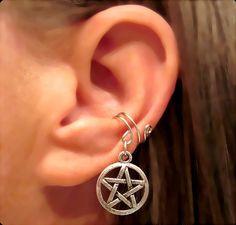 Non Pierced Pentacle Ear Cuff 1 Cuff - Silver Tone Wiccan Pagan. $6.00, via Etsy.