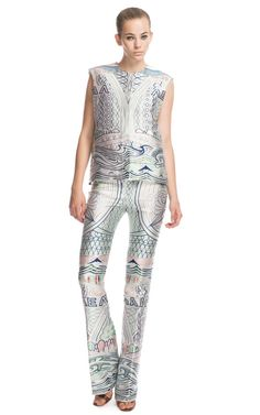 This sleeveless, collarless jacket features front snap closures   Fully lined   These printed trousers feature front pleated detail and a front center zip with hook and eye closure   Unlined