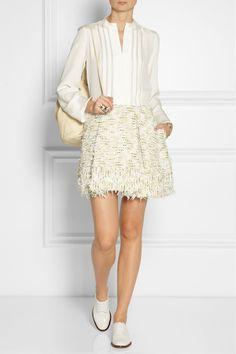 Derek Lam|Georgette-paneled silk shirt |3.1 Phillip Lim | Textured-tweed mini skirt | Robert Clergerie | Embossed leather brogues | Elizabeth and James | Sling textured-leather backpack