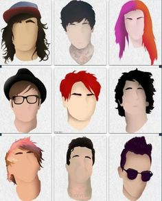List of lead singers in photo, starting from top left corner: Vic Fuentes from Pierce The Veil, Oliver Skies from Bring Me The Horizon, Hayley Williams from Paramore, Patrick Stump from Fall Out Boy, Gerard Way from My Chemical Romance, Billie Joe Armstrong from Green Day (I think), Alex Gaskarth from All Time Low, I don't know, and Brendon Urie from Panic! At The Disco. :D