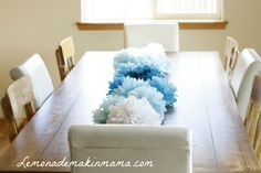 Tissue paper flower table runner